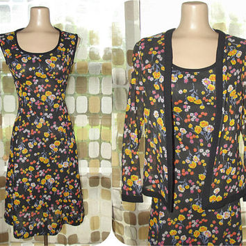 Vintage 60s Floral Skater Dress & Jacket Set | 1960s Flirty Dress | See Through Jacket | Fit and Flare Dress | Little Black Dress | Size M/L