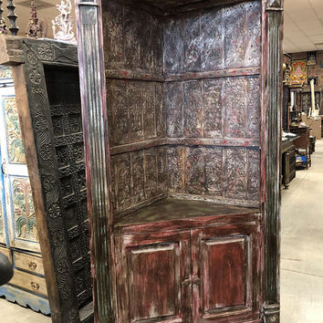 Antique Indian Handcrafted HUGE Corner Cabinet Sideboard Vintage Bookcase Storage Farmhouse Design