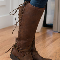 My Love Lace Up Boots Brown