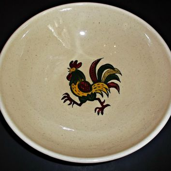 Metlox Pottery Bowl  Red Rooster Pattern Provincial Shape Vintage 1930's