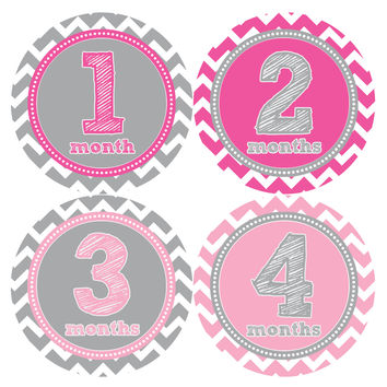 Baby Girl Monthly Baby Stickers Style #281