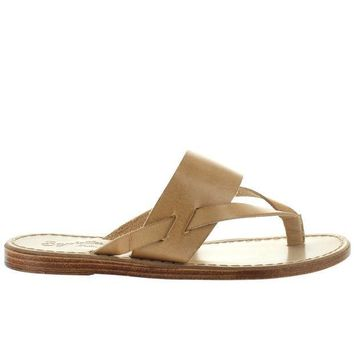 CREYONIG Seychelles Mosaic - Natural Leather Thong Sandal