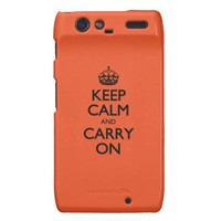 Tangerine Tango Keep Calm And Carry On Motorola Droid RAZR Cover from Zazzle.com