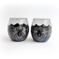 Glasses of Whiskey, Spider Whiskey Glasses, Black and Silver Glasses, Barware, Best Man Gift, Scotch Glasses, bar glasses /Set of 2/