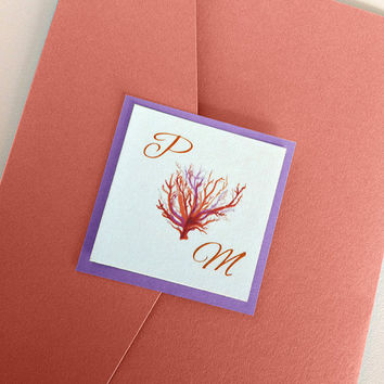 "Beach Wedding Invitation Kit - Coral Wedding Invitation Pocketfold Set ""Sea Coral"" Coral Purple Wedding Accommodation RSVP Reception Card"