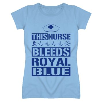This Nurse Bleeds Royal Blue Baseball T Shirt - Kansas City Royals Team Colors