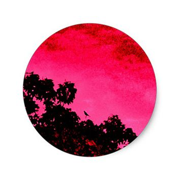 Tropical Sunset Classic Round Sticker