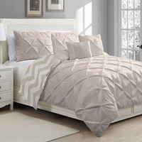 Ella Pinch Pleat 5-pc. Reversible Duvet Cover Set