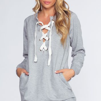 Tinsley Sweatshirt Dress - Heather Gray