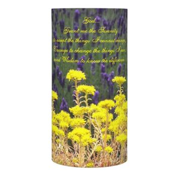 Serenity Prayer Summer Garden Photo Flameless Candle