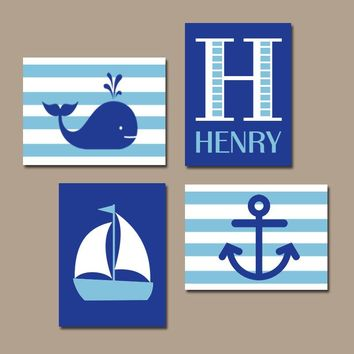 BOY Nautical Wall Art, Hampton Whale Sailboat Anchor, Baby Nursery Decor, Blue Bedroom, Coastal Theme Decor, CANVAS or Prints, Set of 4