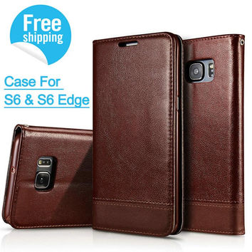 IDOOLS business leather Case For Samsung Galaxy S6 / S6 Edge Funda With Stand and Card Slot Phone Cases Cover for Galaxy S6 Coqu