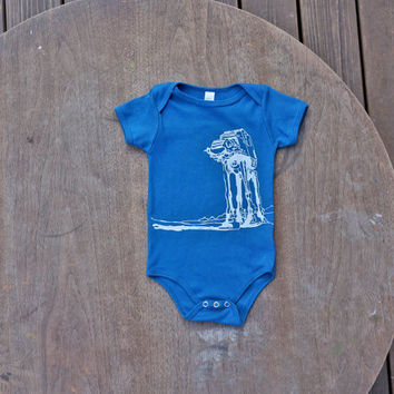 Star Wars AtAt Walker American Apparel Organic baby Onesuit in Galaxy Blue