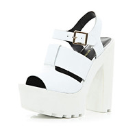 River Island Womens White cleated sole platform sandals