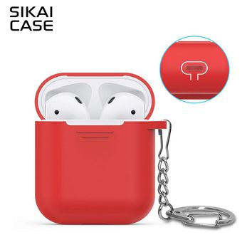 SIKAI For Apple AirPods Case Silicone Skin For AirPods Cover With Metal Buckle Dust plug Free Lanyard For Air Pods Charging Case