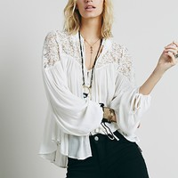 Free People Collared Lace Inset Top