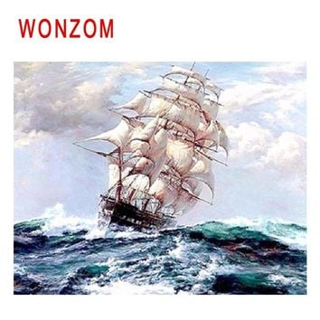 WONZOM Ship Sailing Diy Painting By Numbers Sea Waves Oil Painting Cuadros Decoracion Acrylic Paint On Canvas Modern Wall Art