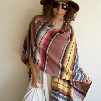 Vintage Oversize Faded Distressed Mexican Blanket Hippie Boho Wrap Poncho