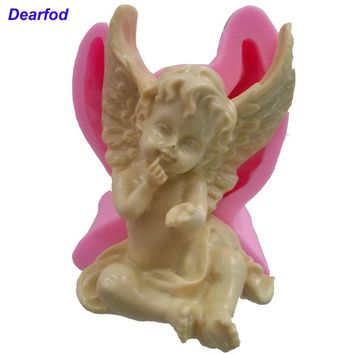 Dearfod 1632  Angel Fondant Silicone Mold for Soap Candle and Chocolate make  Kitchenware  DIY Tool