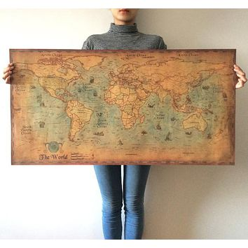 World Map Nautical Ocean Sea maps  Retro old Paper Poster Wall Chart  Sticker Antique Home Decor Map World big