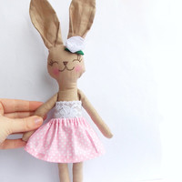 Stuffed Bunny Rabbit doll Stuffed Animal Plush Bunny toy handmade Animal Baby doll pink polka dot skirt lace embroidered face Child Friendly