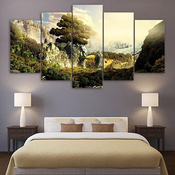 Modern Painting HD Printed Canvas For Room Wall Art 5 Panels Poster Natural Paradise Landscape Pictures Home Decor Frame PENGDA