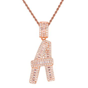 14k Rose Gold Finish Baguette Custom Initials A-Z Letters