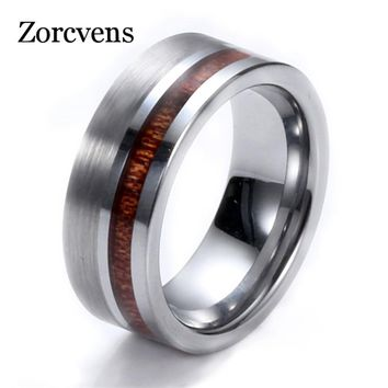 ZORCVENS Simple High Quality 8mm Wood Round Silver Color Tungsten Carbide Band Ring Heavy Steel Punk Ring For Men Party Rings