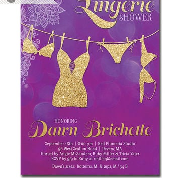 lingerie shower invitation lace purple bokeh gold glitter modern