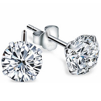 Hot Sales Real 925 Sterling Silver Jewelry Stud Earrings Created Diamond Zircon CZ for Man Woman Lovers Christmas Gift Accessory