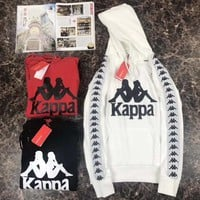 Kappa Fashion Long Sleeves Print Hooded Tops Sweatshirt