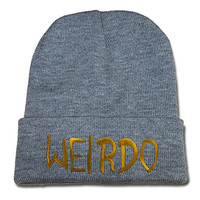 BARONL Weirdo Logo Beanie Fashion Unisex Embroidery Beanies Skullies Knitted Hats Skull Caps - Grey