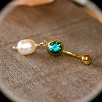 Pearl and Teal Crystal Belly Button Ring, Pearl and Clear Crystal Belly Button Ring, 14 Gauge Gold Stainless Steel, Navel Jewelry Belly Ring
