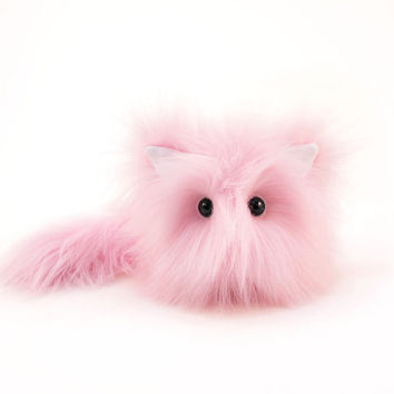 Stuffed Animal Stuffed Cat Cute Plush Toy Kitty Kawaii Plushie Baby Pink Fuzzy Faux Fur Toy Cat Small 4x5 Inches