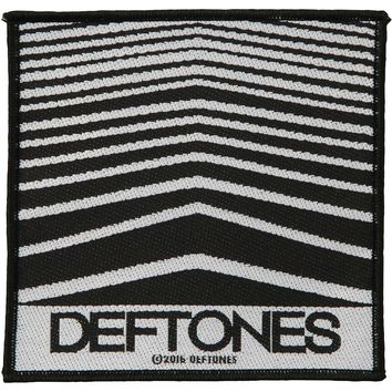 Deftones Men's Abstract Lines Woven Patch Black