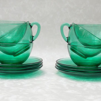 Coffee Cup Set, Espresso Cups, Arcoroc Green Glass, Six Piece Set - 1960