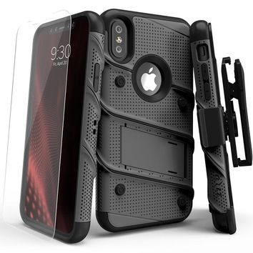 iPhone X Case - Zizo [Bolt Series] with FREE [iPhone X Screen Protector] Kickstand [12 ft. Military Grade Drop Tested] Holster Belt Clip Gun Metal Gray