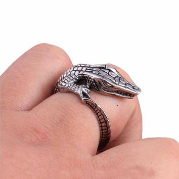 Resizable 3pcs/lot Crocodile Alligator Wrap Around Rings Tiny Gator Antique Silver Spoon Rings Unique Souvenir Swamp Jewelry Handcrafted