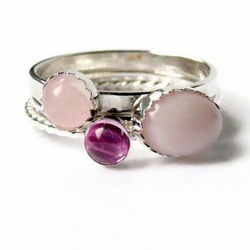 Pink opal ring Gemstone stacking rings sterling silver ring pastel jewelry rose quartz and lab ruby
