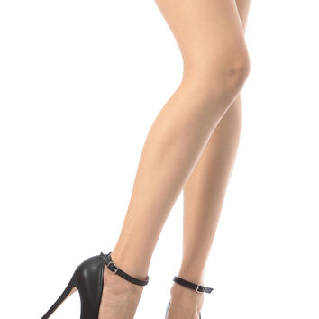 Black Faux Leather Ankle Strap Platform Pumps