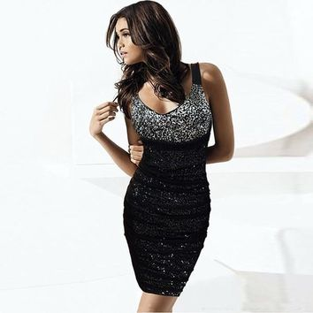 Europe And United States Style Sequins V-Neck Tight Skirt KTV Base Package Hip Dress Sexy Net Yarn Party Dresses