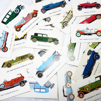 Car Cards Vintage MOBIL Cards Vintage Cars Color pictures Car info on back set of 23 cards Cars of the 20s to 30s Dad Collector Gift
