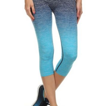Ombre Capri Yoga Pants - Teal