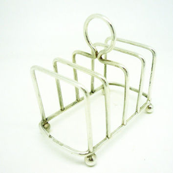 Solid Silver Toast Rack, Sterling, 5 Bar, English, Letter, Hallmarked Chester 1920, REF:242O