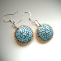 Chic Button Earrings - Turquoise Earrings  - Hand Painted Jewelry  - Blue Turquoise