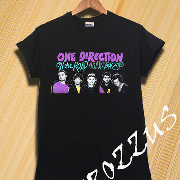 One Direction Shirt 1D World Tour 2015 Shirt T-shirt Tee Shirt Black Color Unisex Size - NK57