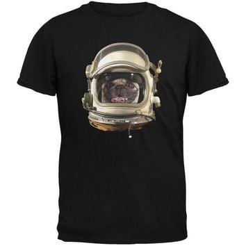 DCCKJY1 Astronaut Pug Black Youth T-Shirt