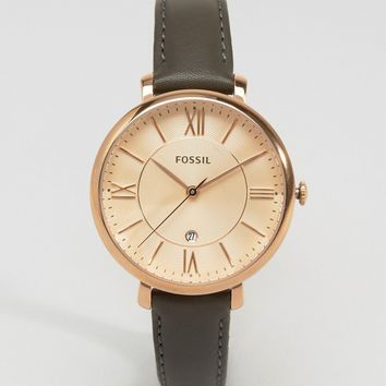 Fossil Grey Leather Jacqueline Watch ES3707 at asos.com