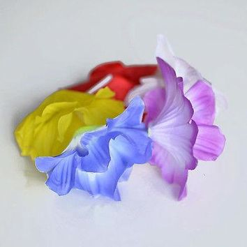 Hibiscus Hawaiian Luau Wrist Bracelet or Anklet Multi Color Purple Yellow Blue