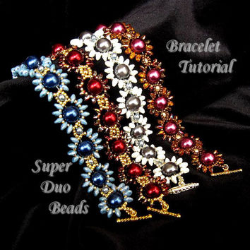 PDF Tutorial Daisy Chain Bracelet Tutorial with SuperDuo Beads and Pearls, Beading Pattern